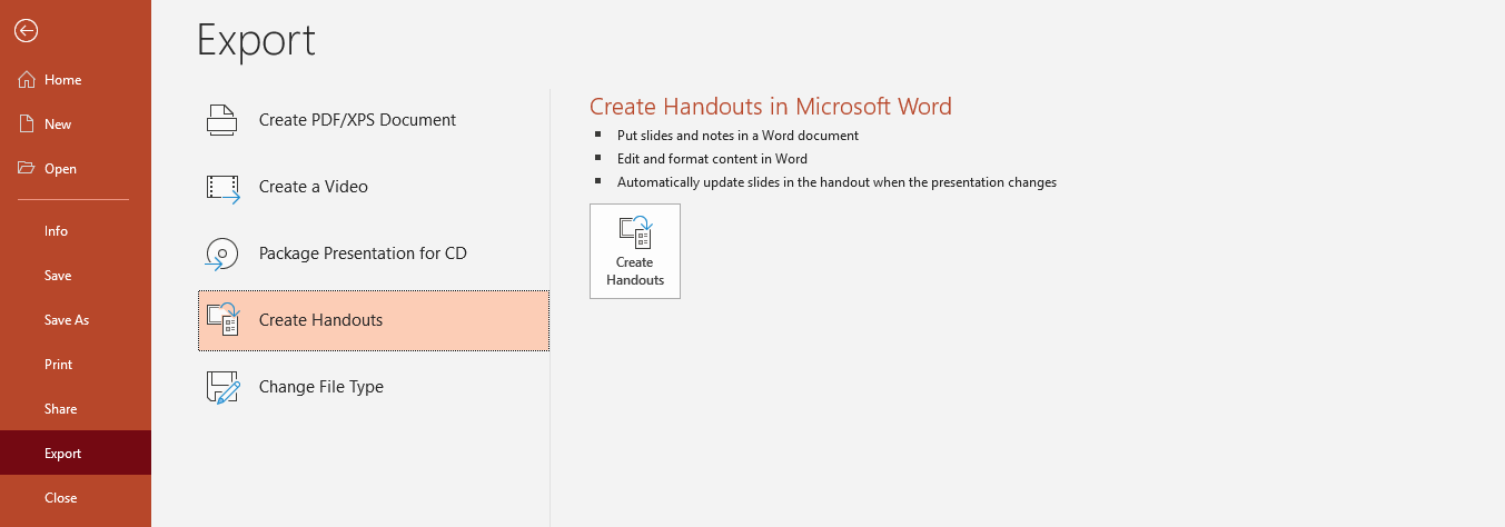 how to convert powerpoint to Word 4