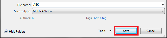 Save button to save ppt to video file