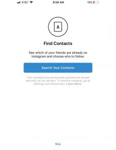 find contacts - instagram