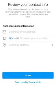 review contact info - instagram